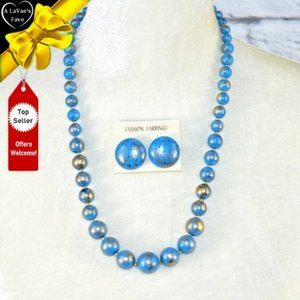 NEW Blue and Gold Tapered Bead Necklace Set